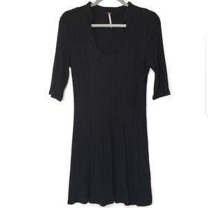 Free People Jolene Scoop Neck, Black Dress, Lg